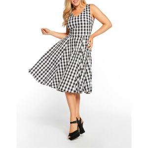 NWT Black Gingham Swing Full Skirt Dress S